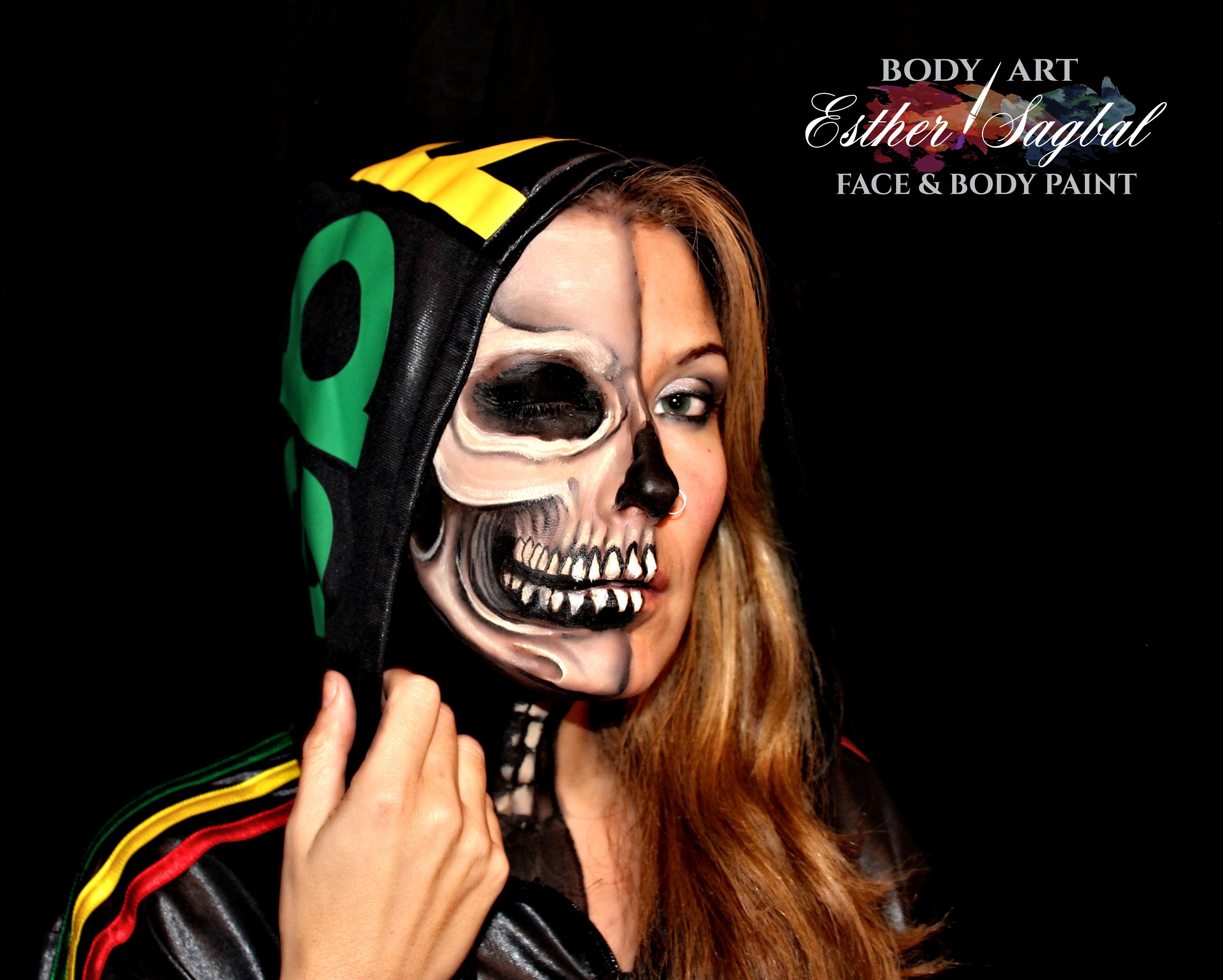 Facepaint de calavera para Halloween