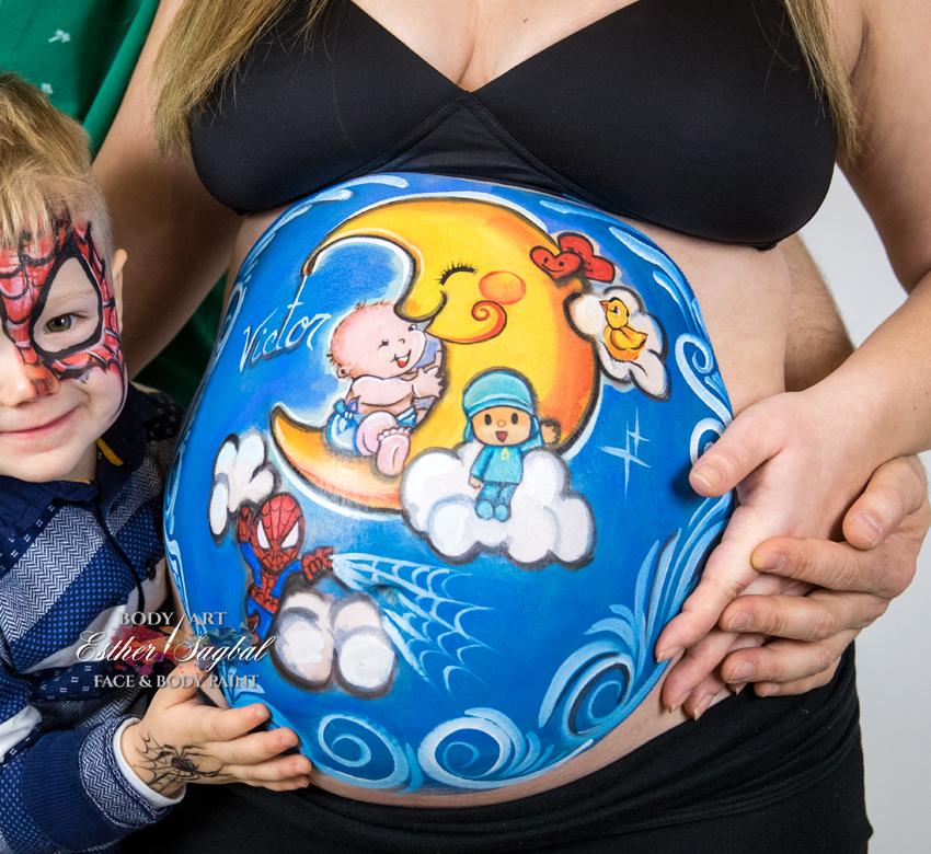 Body painting para embarazadas con pinturas especiales